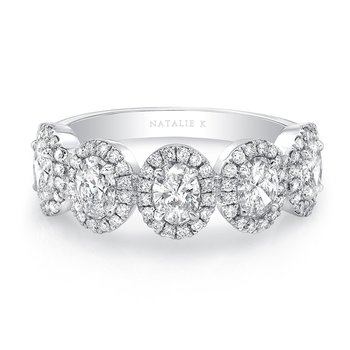 Five Stone Oval Diamond Halo Band
