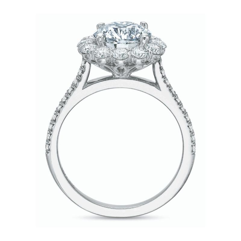 Precision Set Diamond Halo Engagement Ring