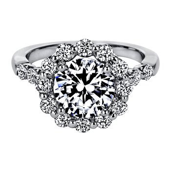"Seven-Stone ""Royal Prong"" Round Halo Diamond Engagement Ring"