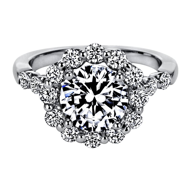 "Sasha Primak Seven-Stone ""Royal Prong"" Round Halo Diamond Engagement Ring"