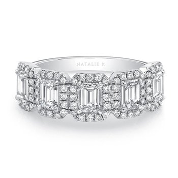 Five Stone Emerald Cut Diamond Halo Band