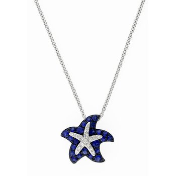 Watercolors Collections 14kt white gold blue sapphire starfish necklace