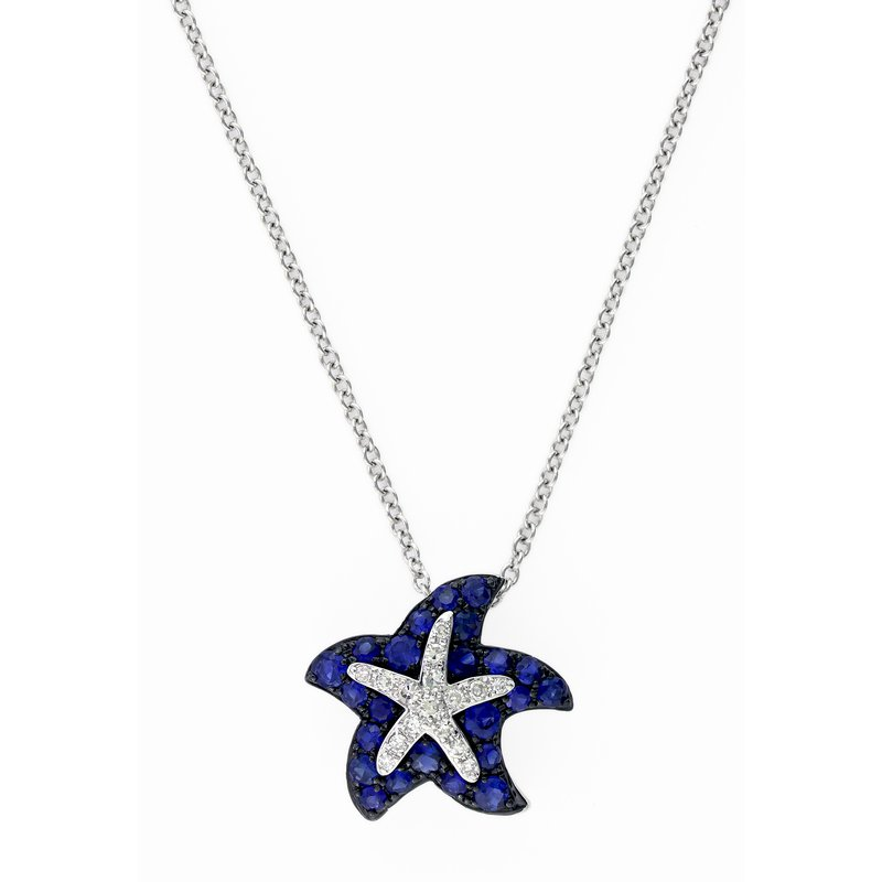 Watercolors Collection Watercolors Collections 14kt white gold blue sapphire starfish necklace