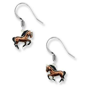Sterling silver enamel horse earrings