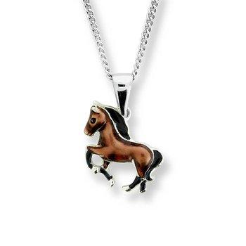 Sterling silver enamel horse necklace