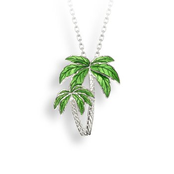 Sterling silver enamel double palm tree necklace