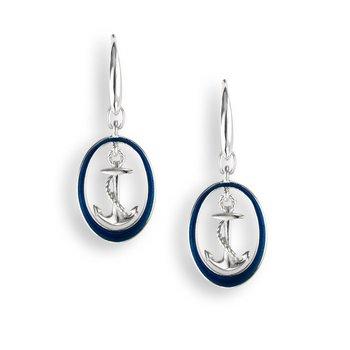 Sterling silver blue enamel anchor earrings
