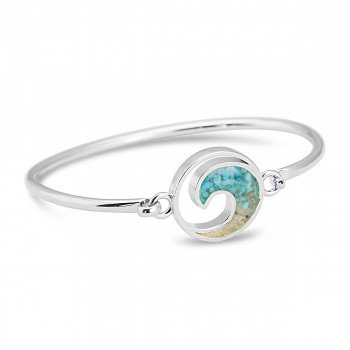 Dune Jewelry Ocean City Sand and Turquoise Gradient Wave Bangle