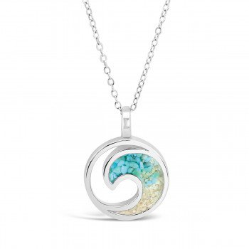 Dune Jewelry Ocean City Sand and Turquoise Gradient Wave Necklace
