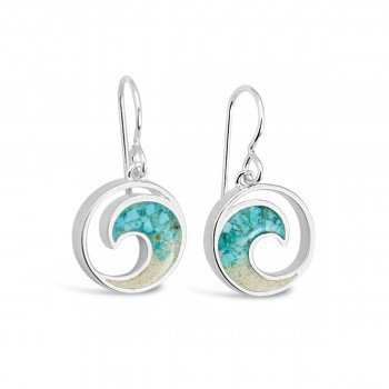 Dune Jewelry Ocean City Sand and Turquoise Gradient Wave Earrings