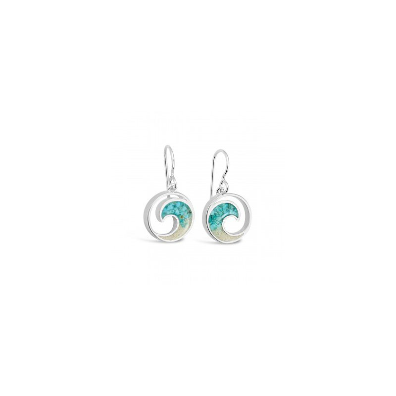 Ocean City Collection Dune Jewelry Ocean City Sand and Turquoise Gradient Wave Earrings