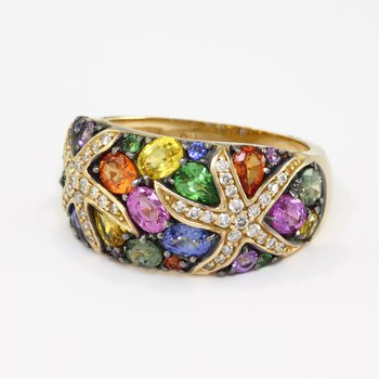 Watercolors 14kt Gold Multi Sapphire and Diamond Ring
