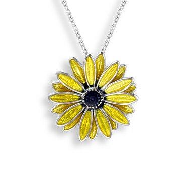 Sterling silver Black Eyed Susan flower necklace