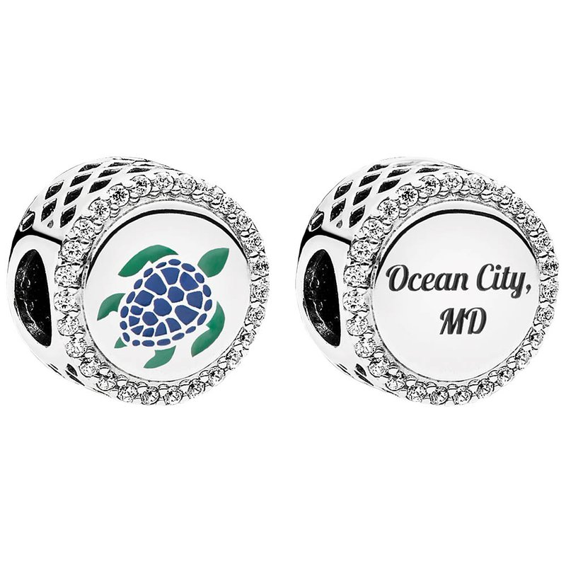 Custom Pandora Ocean City Charms Ocean City Pandora Turtle Button Charm