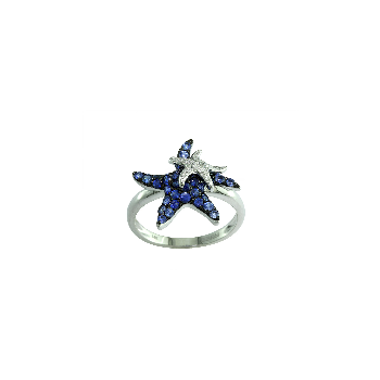 Watercolors Collections 14kt white gold sapphire on starfishring