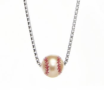 Sterling silver softball pearl necklace