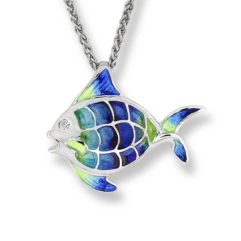 Set of Sterling Silver enameled Angelfish jewelry