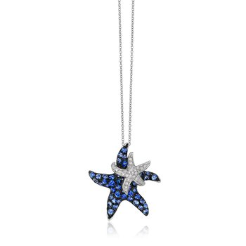 Watercolors Collections 14kt white gold sapphire starfish on starfish necklace