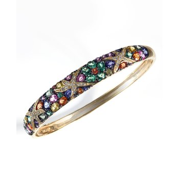 Watercolors Collections 14kt gold multi color sapphire and diamond bangle