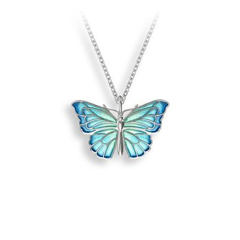 Sterling silver enamel butterfly necklace