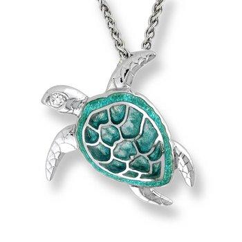 Sterling silver green enamel turtle