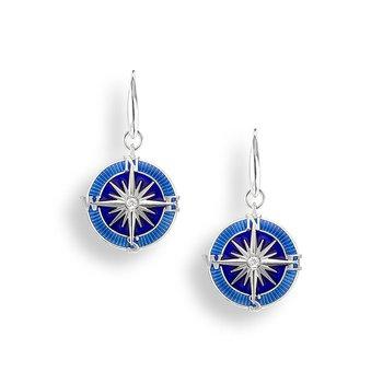 Sterling silver enamel compass earrings