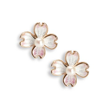 Sterling silver and rose gold enamel dogwood earrings
