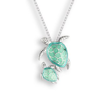 Sterling silver green enamel turtle - mother and baby