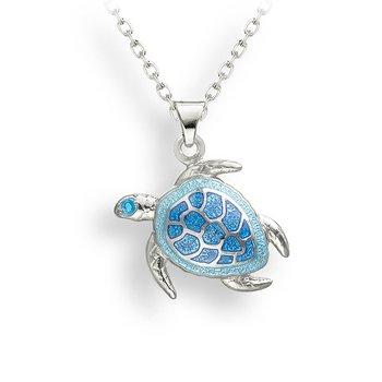 Sterling silver blue green enamel turtle