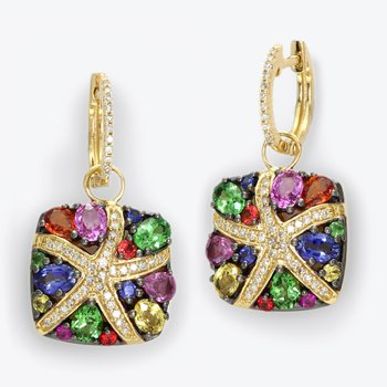 Watercolors Collections 14kt gold multicolor sapphire square dangle earrings