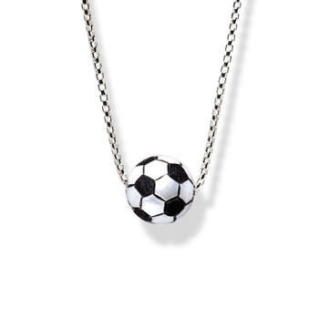 Sterling Silver Soccer Ball Pearl Necklace