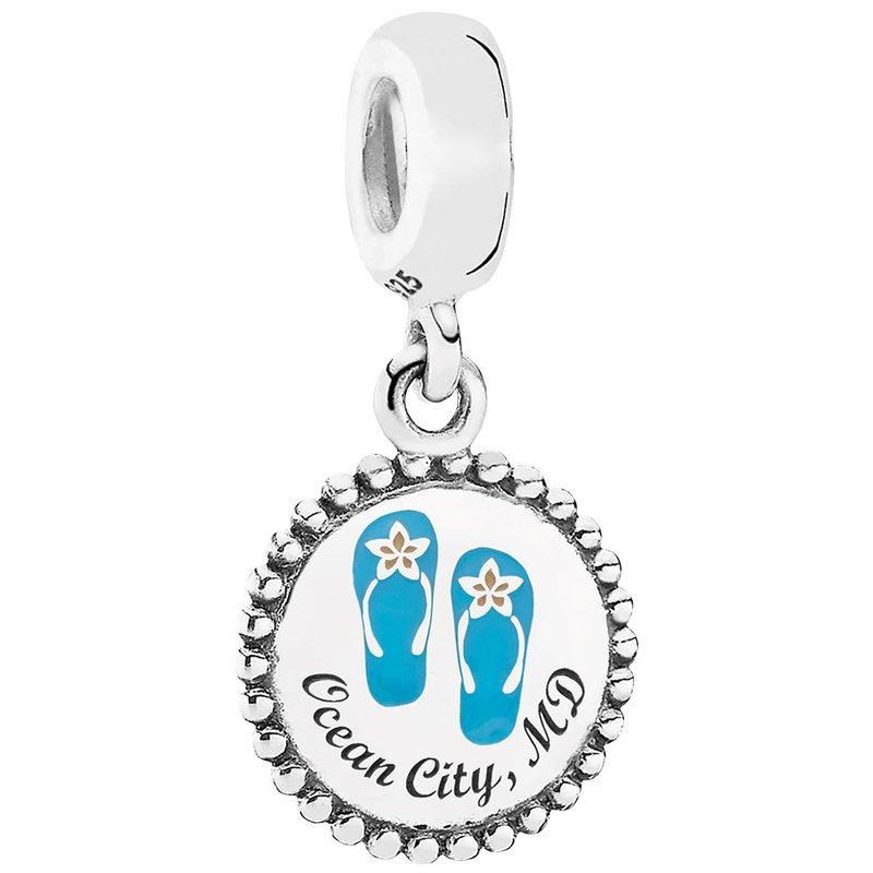 Custom Pandora Ocean City Charms Ocean City Pandora Dangle Flip Flop Charm