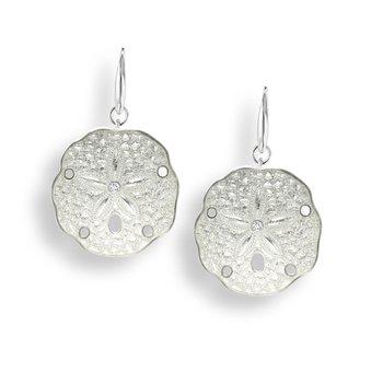 Sterling silver white enamel sand dollar earrings