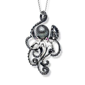 Sterling silver Tahitian pearl octopus necklace