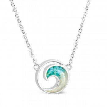 Dune Jewelry Ocean City sand and turquoise wave necklace - stationary