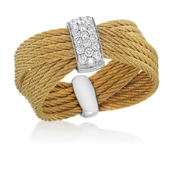 Yellow Cable Bow Ring with 18kt White Gold & Diamonds