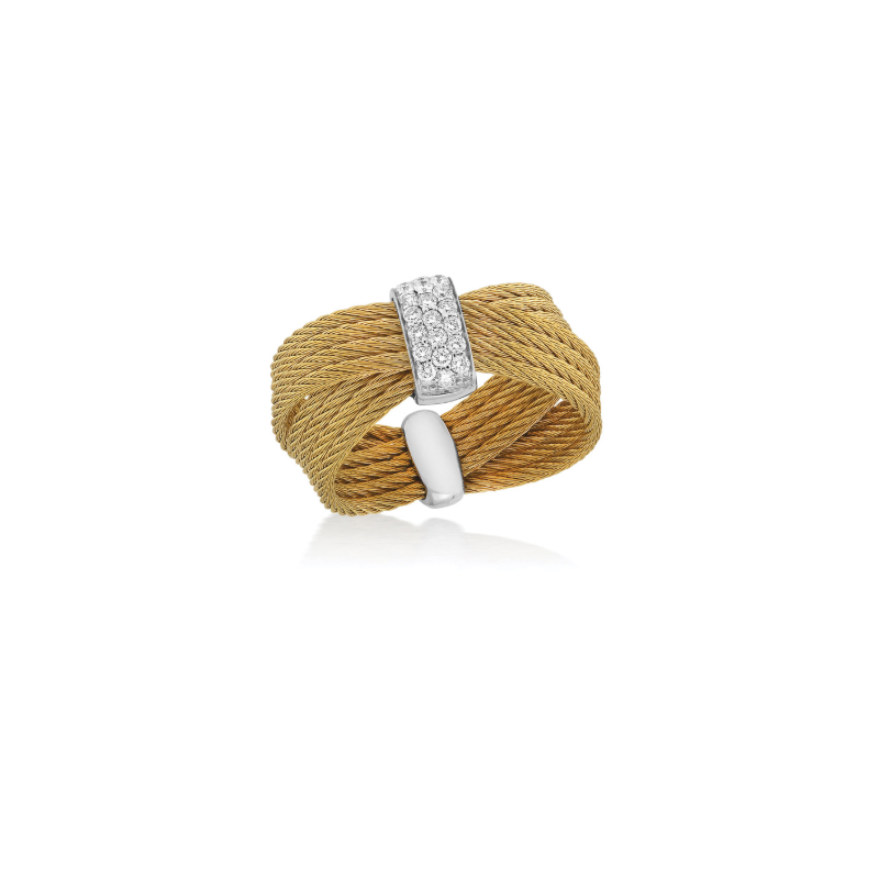 ALOR Yellow Cable Bow Ring with 18kt White Gold & Diamonds