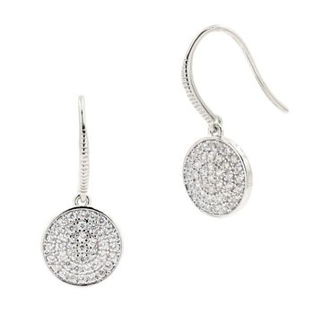 RAD SS/CZ PAVE DISC EARRINGS