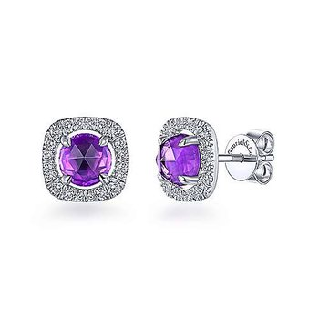 14KWG DIA .31CT & AMETHYST 1.67CT FASHION STUD EARRINGS