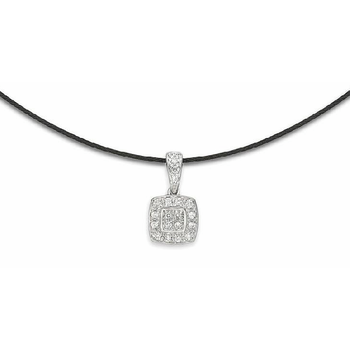 Black steel and 18K white gold diamond necklace