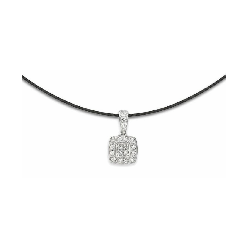 ALOR Black steel and 18K white gold diamond necklace