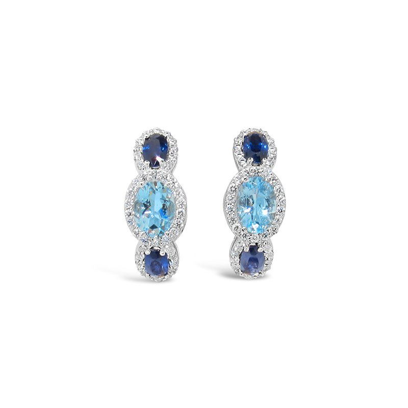 Aires Signature Collection sapphire and aqua earrings