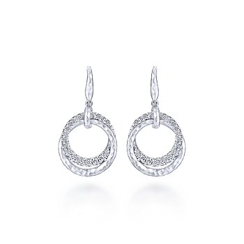 SS/ 1.29CT WHT SAPPH ROUND DROP EARR