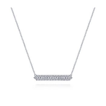 14KW .45CT DIA 3 ROW BAR NECKLACE