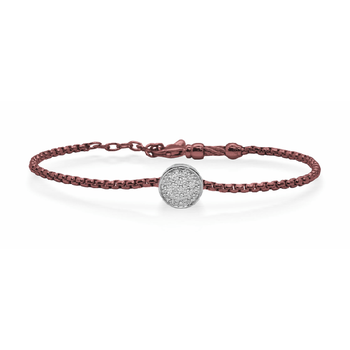ALOR Burgundy Chain Expressions Scattered Bracelet with 14kt White Gold & Diamonds