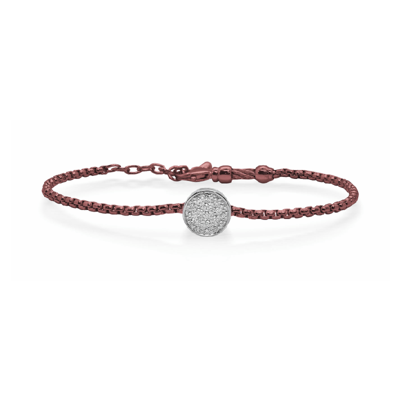 ALOR ALOR Burgundy Chain Expressions Scattered Bracelet with 14kt White Gold & Diamonds