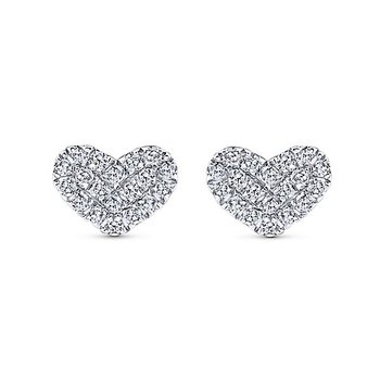 14KW .14CT DIA HEART STUD EARRINGS