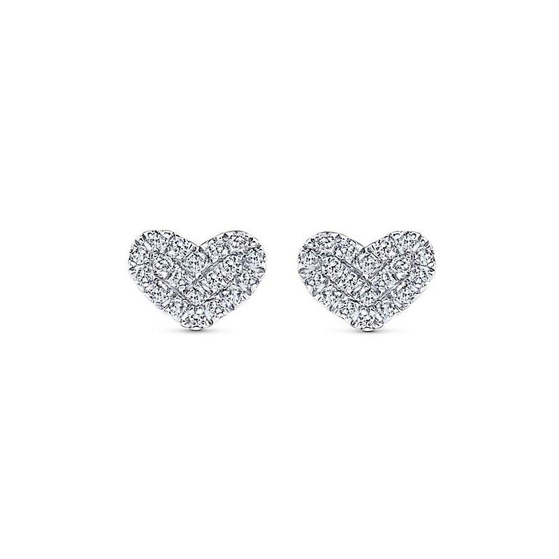 Gabriel Fashion 14KW .14CT DIA HEART STUD EARRINGS