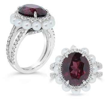 garnet and pearl ring