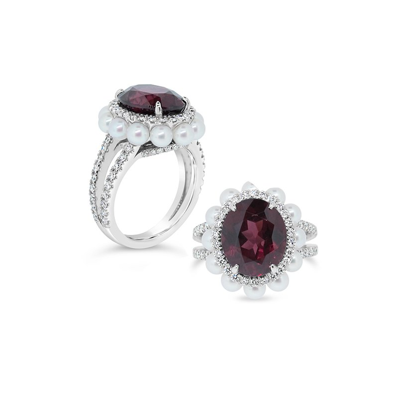 Aires Signature Collection garnet and pearl ring